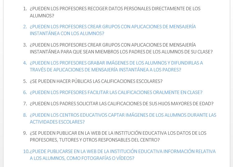Protección Datos instituciones educativas